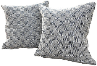 One Kings Lane Vintage Chenille Navy/Cream Check Pillows,Pair - BETH AYER DESIGN/OKL