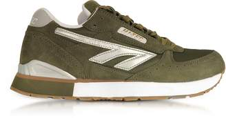Hi-Tec Silver Shadow Olive/Silver/White Mesh and Suede Men's Trainers