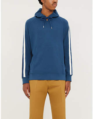 Sandro Striped-sleeve cotton-jersey hoody