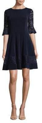 Eliza J Lace-Trimmed Bell-Sleeve Dress