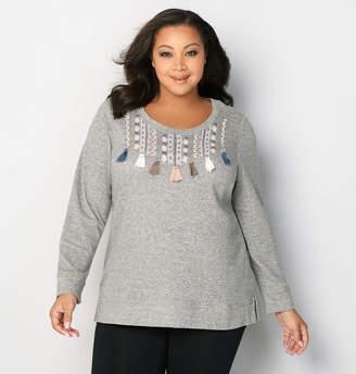 Avenue Tassel Embroidery Sweatshirt