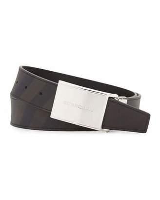 Burberry Charles Smoke Check Plaque Belt, Black