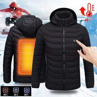 BAESAN Mens Intelligent Heating USB Hooded Heated Jacket Outerwear Workwear Motorcycle Skiing Winter Warm Warmer Coats Hoodie Breathable Coat Adjustable (Without Portable Source) 40/42/44