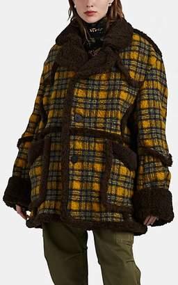 R 13 Women's Faux-Shearling-Trimmed Plaid Bouclé Coat