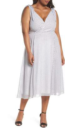 City Chic Alika Dot Fit & Flare Dress
