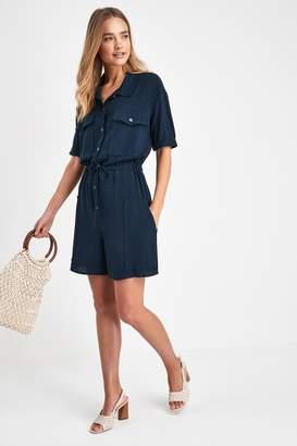 Next Womens Navy Utility Shirt Playsuit - Blue