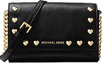 Michael Kors MICHAEL Ruby Leather Heart Stud Clutch Bag, Black