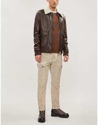 Eleventy Shearling-collar leather jacket