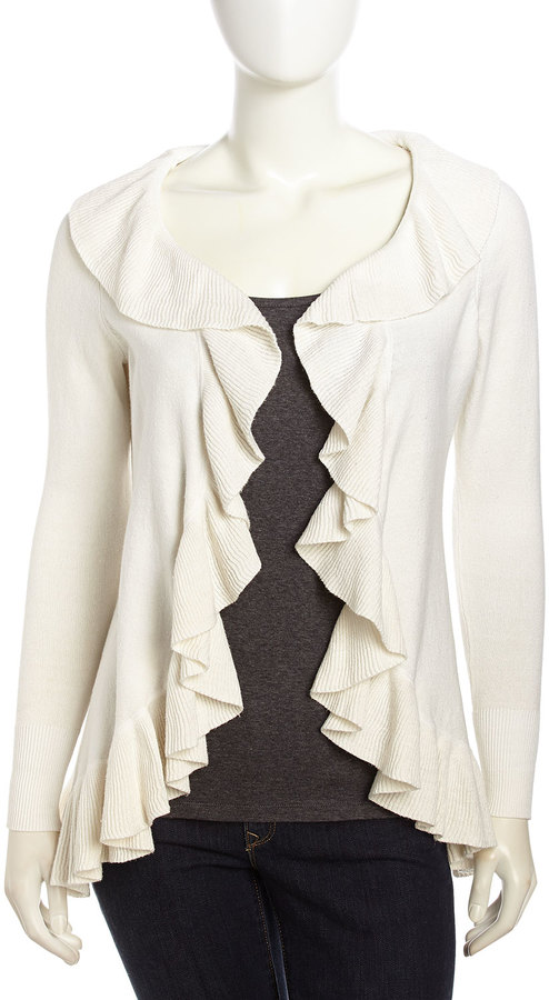 Neiman Marcus Open-Front Ruffled Cashmere-Blend Cardigan, White