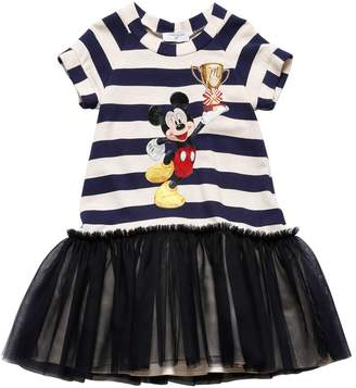 MonnaLisa Striped Knit & Stretch Tulle Dress