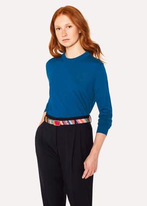 Paul Smith Women's Blue Wool-Silk Openwork-Knit Sweater