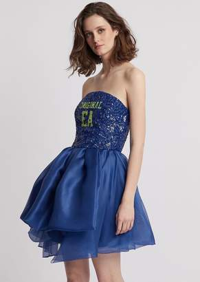 Emporio Armani Dress With Sequined Bodice And Asymmetric Skirt In Duchesse