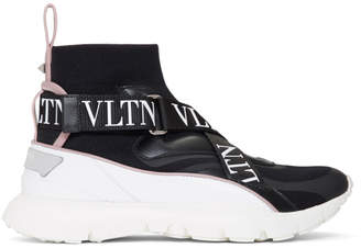 Valentino Black and White Garavani VLTN Heroes Sock Sneaker