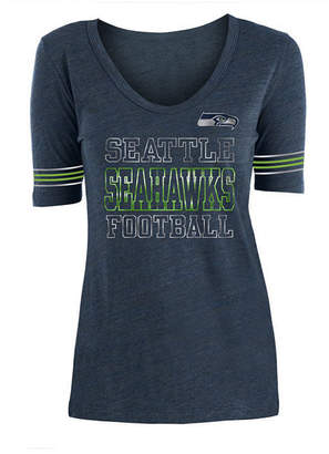 5th & Ocean Women's Seattle Seahawks Tri Blend Foil Sleeve Stripe T-Shirt