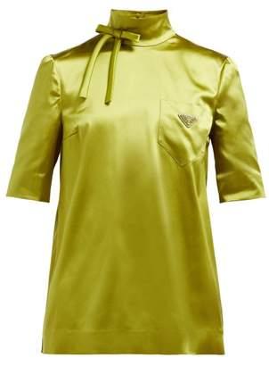 Prada High Neck Silk Blend Technical Satin Blouse - Womens - Green