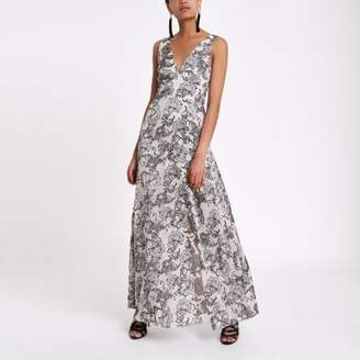 River Island Womens Grey paisley tie back plunge maxi dress
