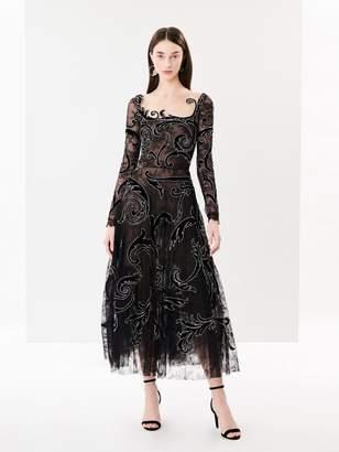 Oscar de la Renta Embroidered Flower Garden Chantilly Lace Cocktail Dress