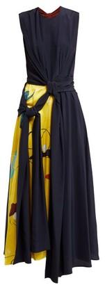 Roksanda Sorka Knotted Contrast Panel Silk Dress - Womens - Blue Multi