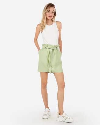 Express High Waisted Sash Tie Mid-Thigh Skirt