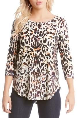 Karen Kane Animal Print Shirttail Top