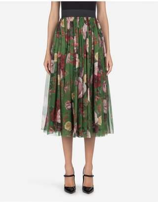 Dolce & Gabbana Midi Skirt In Baroque Rose-Print Chiffon