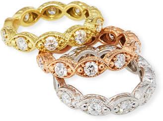 Diana M. Jewels 18k Tricolor Diamond Eternity Rings, Set of 3