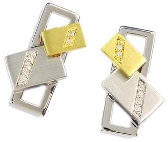 Breuning Two-Tone Sterling Silver Pave Diamond Stacked Rectangle Stud Earrings - 0.06 ctw