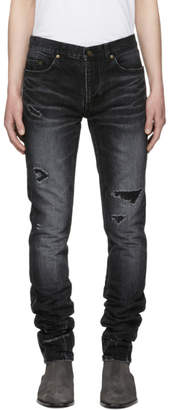 Saint Laurent Black Skinny Repaired Jeans