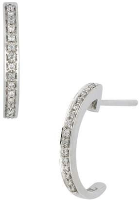 Bony Levy 18K White Gold Pave Diamond 'C' Shape 13mm Hoop Earrings - 0.07 ctw