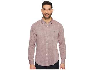 U.S. Polo Assn. Slim Fit Solid Long Sleeve Sport Shirt Men's Clothing