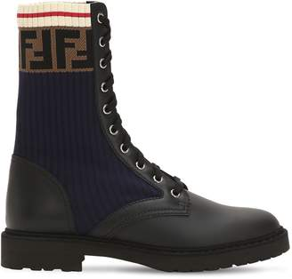 Fendi 20mm Leather & Knit Combat Boots