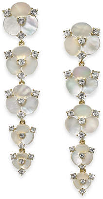 Kate Spade Gold-Tone Crystal & Imitation Mother-of-Pearl Flower Linear Drop Earrings