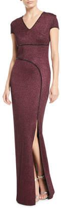 St. John Mod Metallic Knit Cap-Sleeve Column Gown