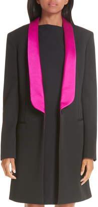 Calvin Klein Contrast Lapel Wool Gabardine Jacket
