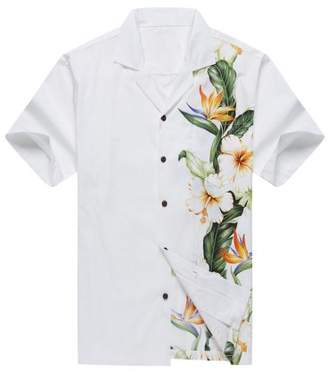 Hawaii Hangover Made in Hawaii Men's Aloha Shirt Side Bird of Paradise Hibiscus Floral in White