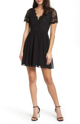 LuLu*s Angel in Disguise Lace & Chiffon Party Dress