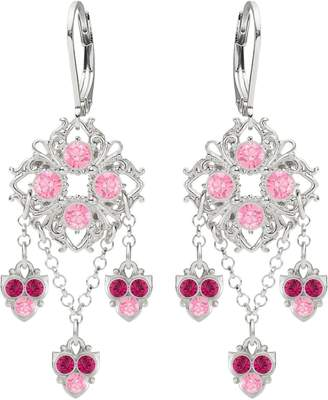 Swarovski .925 Sterling Silver Earrings Designed by Lucia Costin Crafted with Fancy Ornaments, Dots, Delicate Charms, Fuchsia and Light Pink Crystals; Handmade in USA