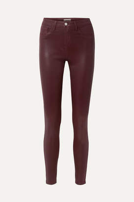L'Agence The Margot Coated High-rise Skinny Jeans - Burgundy