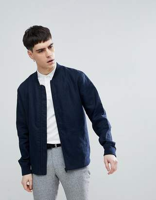Selected Linen Bomber Jacket