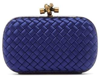 Bottega Veneta Intrecciato Satin And Watersnake Clutch - Womens - Navy