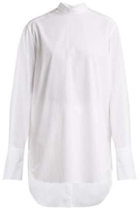 Summa - Mandarin Collar Cotton Poplin Shirt - Womens - White