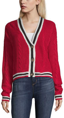 Almost Famous Womens V Neck Long Sleeve Button Cardigan-Juniors