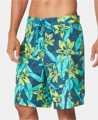 "Speedo Men Rave Hawaii Active Flex 4-Way Stretch Tropical-Print 21"" E-Board Shorts"