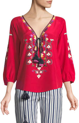 Figue Lulu Embroidered Silk Top with Tassel Ties