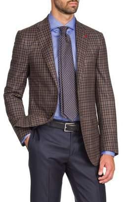 Isaia Men's Two-Tone Check Two-Button Jacket, Tan/Navy