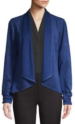 Halston H Faux-Suede Open Front Jacket