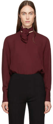 Valentino Burgundy Silk Knot Neck Blouse