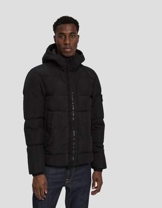 Stone Island Crinkle Reps Nylon Down Filled Hooded Jacket in Black