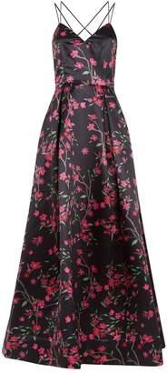 Alice + Olivia Marilla Floral V-Neck Gown