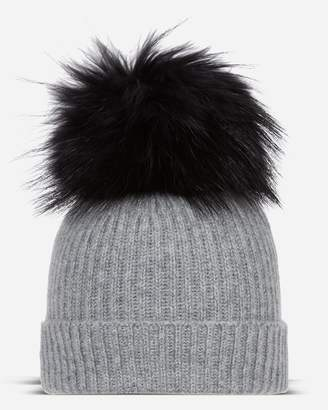 b8a5d82cdce N.Peal Ribbed Cashmere Hat With Detachable Pom